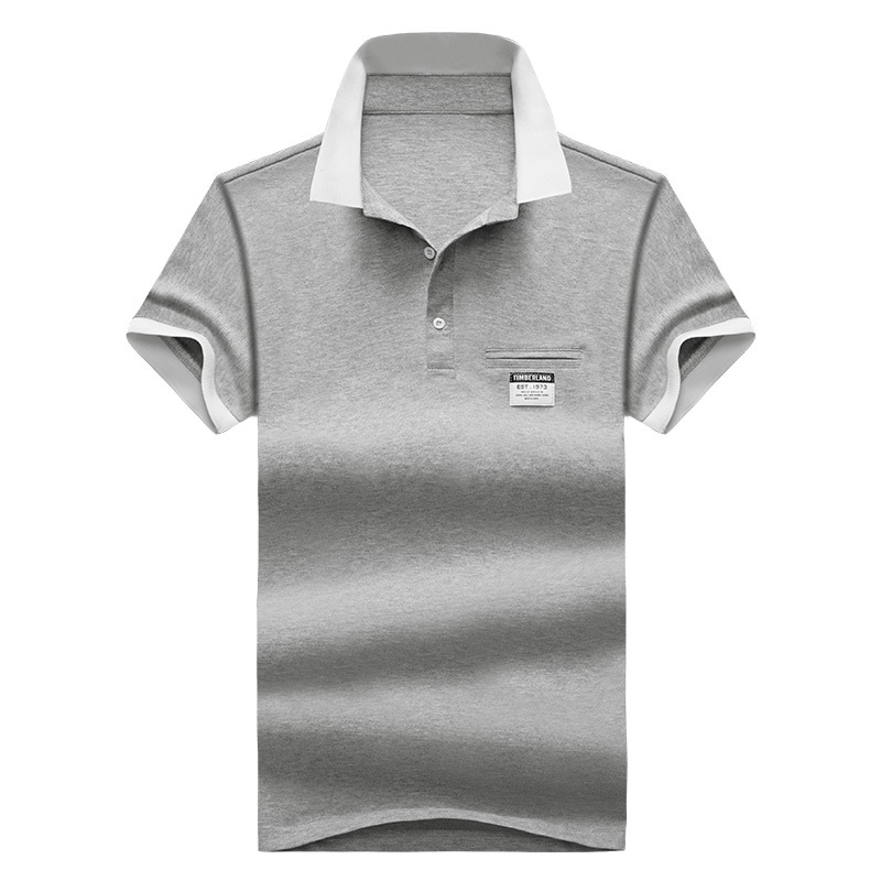 Mens Polo Shirt Summer Style Men Business Casual Solid Color Short Sleeve Polo Shirt Slim Cotton Polo Shirt Men Fake Pocket 27