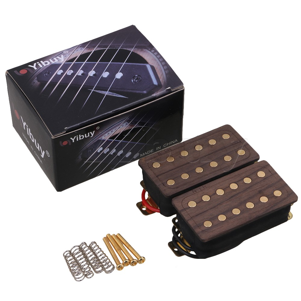 Yibuy 2 Pieces Rosewood Electric Guitar Humbucker Double Coil Pickups belcat bass pickup 5 string humbucker double coil pickup guitar parts accessories black
