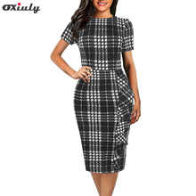 Oxiuly Women Plaid Office Dress Female Summer Vintage Outfits Lady Bodycon Pencil Fitted Dresses Vestidos