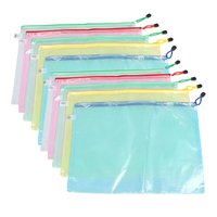 SOSW 10 Pcs Netting Surface A3 Document File Holder Zipper Bag Multicolor
