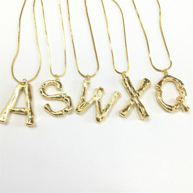 BeUrSelf Oversized capital Initial Necklace Custom Name Large 26 Letters Alphabe