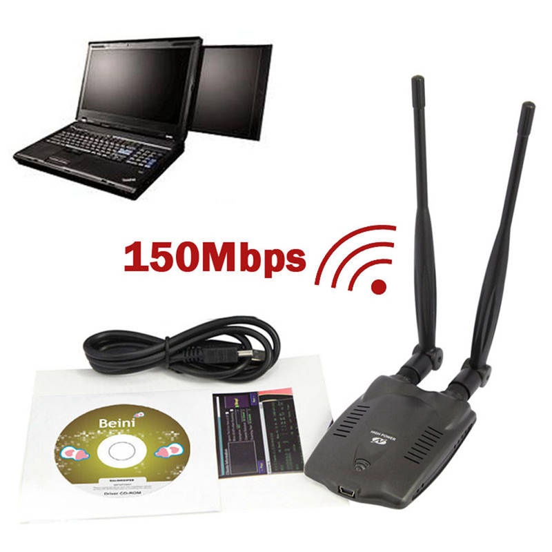 Оригинальный 3000 МВт PC Беспроводной точка доступа USB WiFi адаптер BT-N9100 Beini двойной Телевизионные Антенны Ralink 3070 сетевой карты высокой Мощность