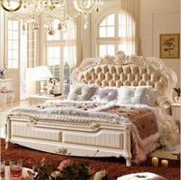 Современные европейские твердой древесины кровать мода резные кожи французский мебель для спальни p10101