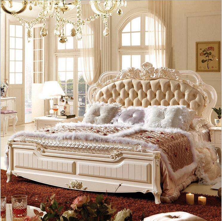 Современный европейский твердой древесины кровать модные резные кожа кровать французская мебель для спальни p10101