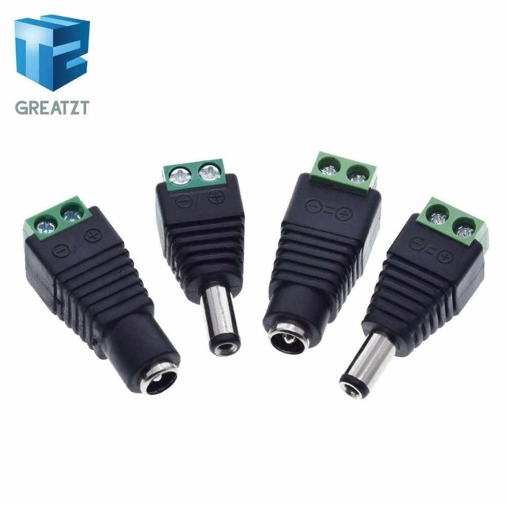 GREATZT 1 paczka 5.5 MM x 2.1 MM/2.5 MM kobiet mężczyzna DC Power Plug Adapter do 5050 3528 5060 pojedynczy kolorowy pasek LED i kamery monitoringu