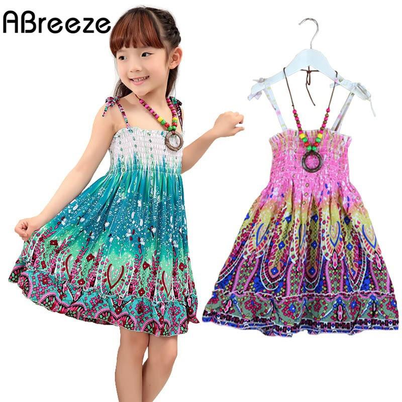 2018 Jaunas 2-7T meitenes kleitas vasaras bohēmijas stilā kleita meitenēm Modes Ceļa garuma meitenes pludmales kleitas sundress ar kaklarotu