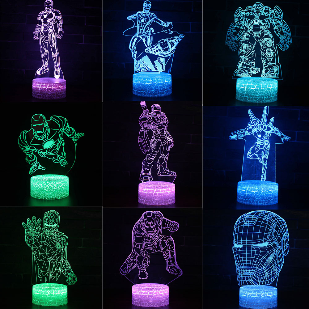 Avengers Figure 3D Acrylic Night Light Iron Man 7 Color Visual 3D Lamp Home Decoration Lighting For Child Man Boys Kids Gifts
