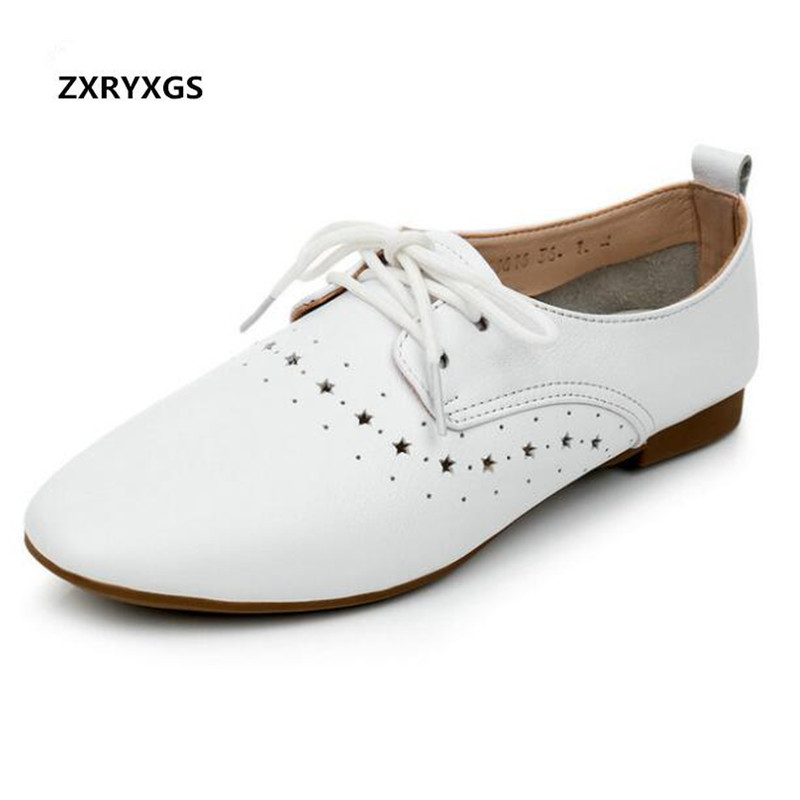 Light Soft Comfortable Women Shoes Flat Shoes 2019 New Spring Lace up Breathable Deep Mouth Genuine