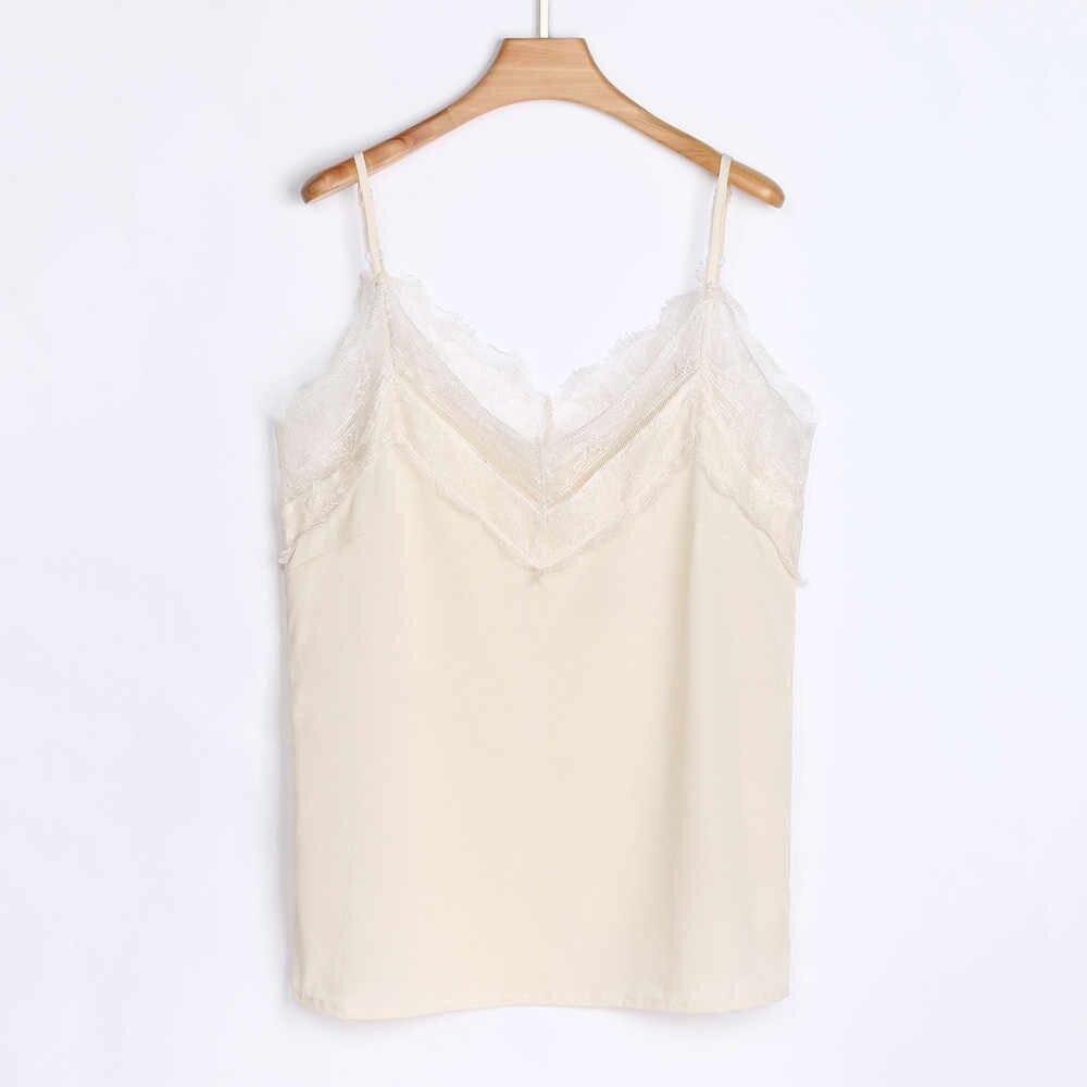 2019 Yeni stil Kadın Bayanlar Kayış kırpma üst Rahat Dantel Kolsuz sıcak kız Yelek Tankı yaz sling Tops Colete Feminino blusas