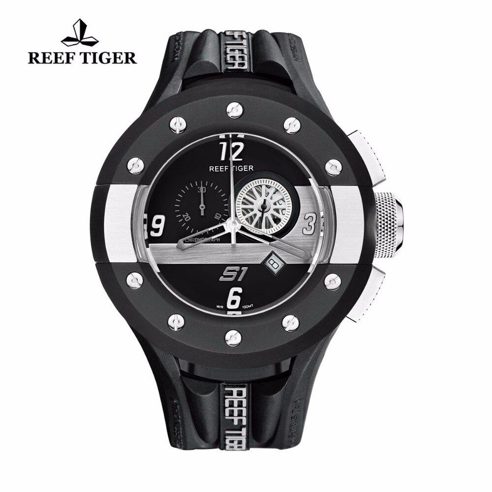 Reef Tiger/RT Quartz Sport Watches Dashboard Dial Rubber Strap Watch Stainless Steel Watch with Date RGA3027 steel strap number quartz date watch