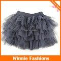 Winniefashions Fábrica! nuevo 2014 Negro Color de Algodón Faldas de Tulle de La Falda Del Bebé Faldas de La Muchacha Niño Niños 3-12years Envío Libre