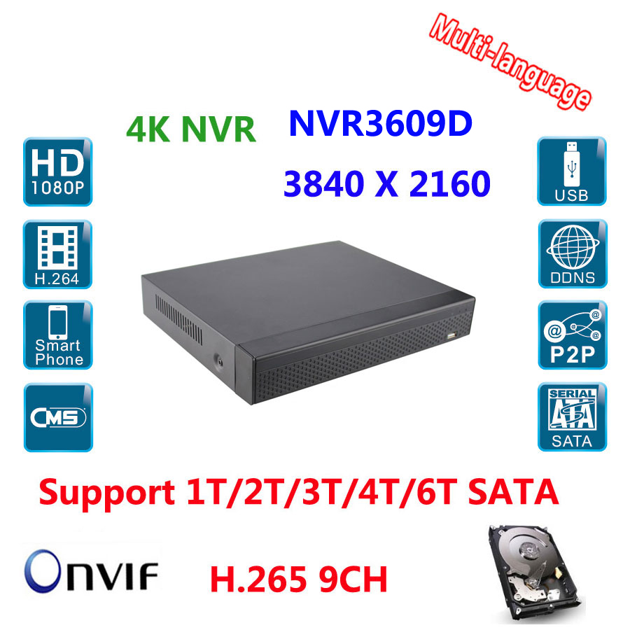 9CH H.265 NVR HDMI/VGA input/ Output 4K/5M/4M/3M/1080P/960P/720p 1xRJ-45 port P2P, IE, VMS Remote View Smart Phone iOS & Andriod