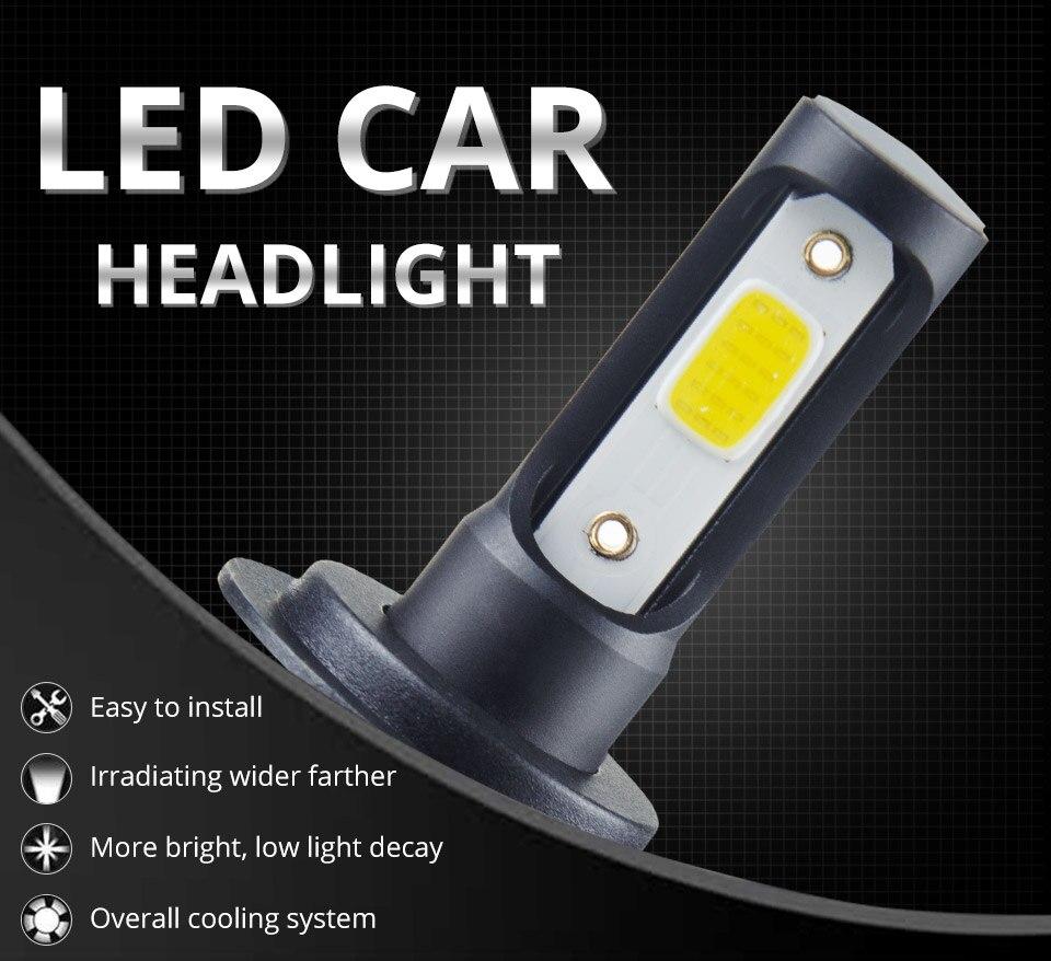 1 pcs LED H7 LED Car Headlight Bulb 8000LM LED H4 H7 H11 9005 9006 9012 4300k 6500k COB Hight Low beam MINI 12V 24V 72W 50000h (1)