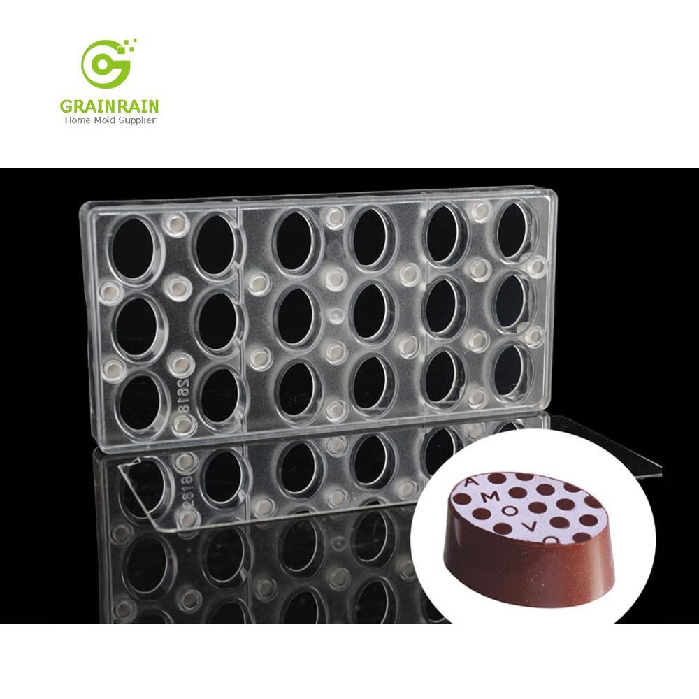 Grainrain ovale bricolage feuille de transfert de chocolat moules personnalisés moule en Polycarbonate magnétique