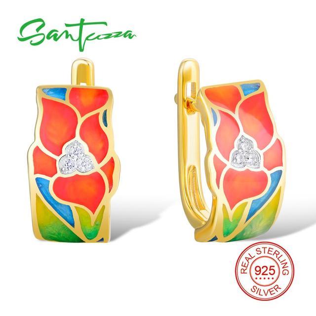 SANTUZZA Silver Earrings For Women 925 Sterling Silver Stud Flower Earrings Gold Color Cubic Zirconia brincos Jewelry Enamel