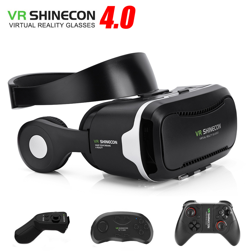 Vritual Reality Shinecon 4.0 Stereo Headphone VR Glasses Headset Helmet 3D Box For 4.5-6.0 Smartphones With Gamepad