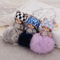 MONCHICHI  BLING RHINESTONE GENUINE RABBIT FUR POM POM KEYCHAIN FOR CAR PENDANTS BAG CHARMS ACCESSORY GREAT GIFT