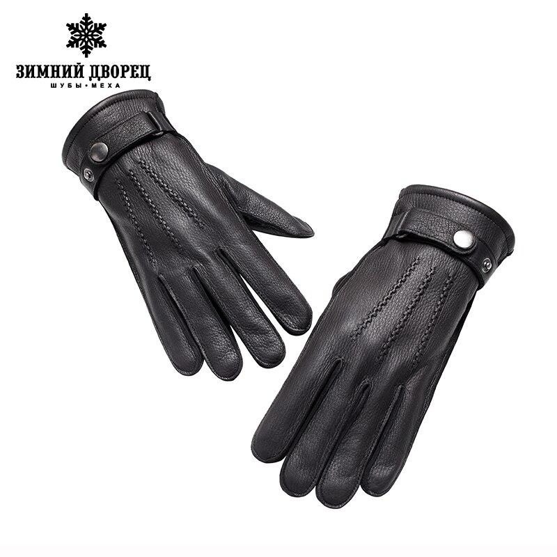 Véritable Cuir gloveLuxury gants mâle gants en cuir De Mode Populaire gants d'hiver gars Dur gants hommes noir Snap conception - 5