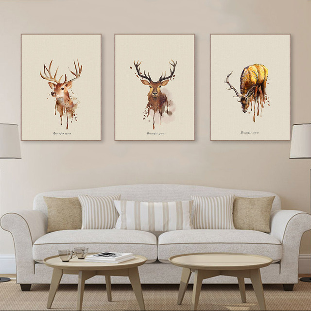 Modern Watercolor Vintage Retro Deer Head A4 Art Wall Prints Poster ...