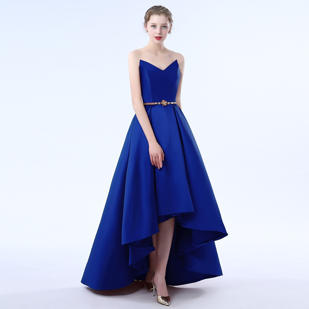 Ladybeauty 2019 Hot sale party prom   dress   Vestido de Festa V-neck high-low satin Lacing back simple   Bridesmaid     Dresses