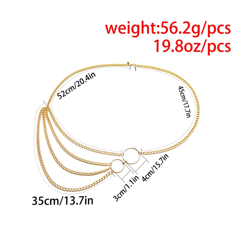Women Fashion Belt Hip High Waist Gold Narrow Metal Chain Chunky Fringes