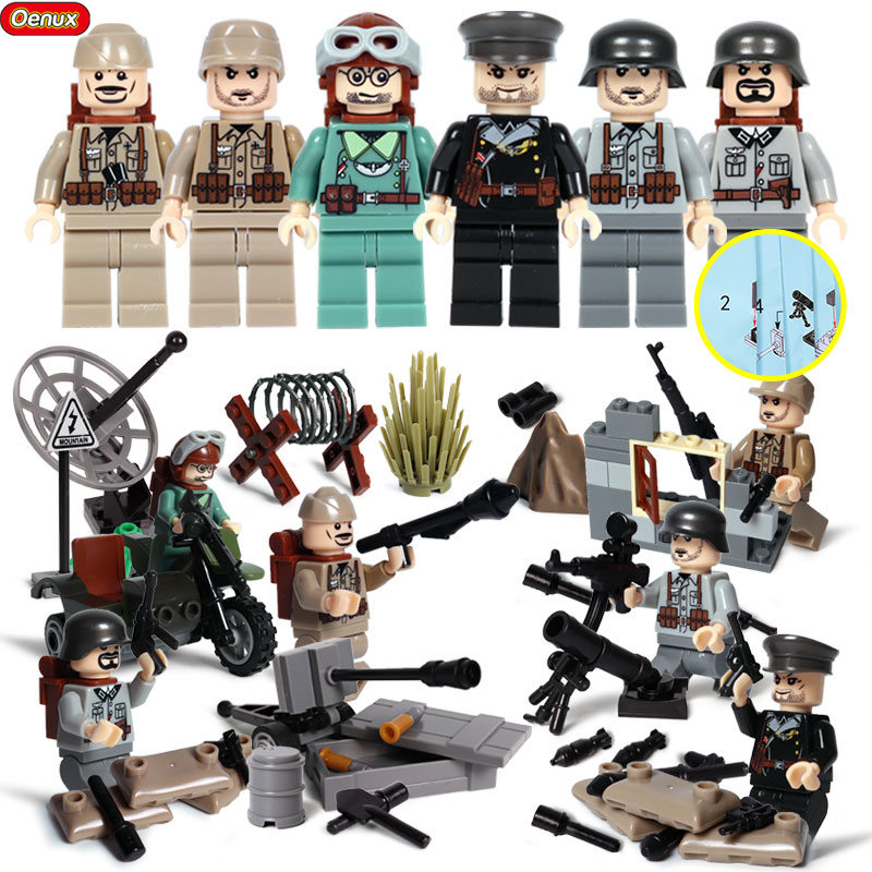 Oenux Newest 6PCS WW2 Military Chinese VS Japanese Army Building Brick Set  World War 2 Taierzhang Battle Model Block Toy For Kid