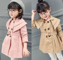 2016 Autumn New Girl dust coat windbreaker Trench England Style Double breasted Belt Long Sleeve Coat Children Clothes 18782