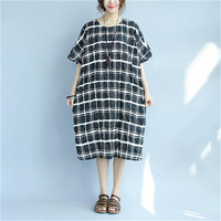 BUYKUD Summer Short White Black Classic Lattice Dresses Women Casual Splitting Pleated Pocket Round Neck Loose Dress Plus Size