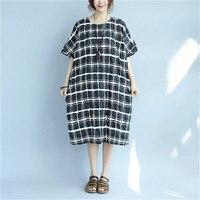BUYKUD Summer Short White Black Classic Lattice Dresses Women Casual Splitting Pleated Pocket Round Neck Loose Dress Plus Size