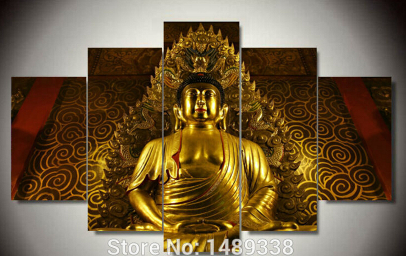 5 Panels Print Picture Large Modern Abstract Golden Buddha