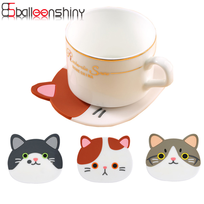 Placemat <font><b>Cartoon</b></font> Cat Pattern Silicone <font><b>Drinks</b></font> <font><b>Coasters</b></font> Table <font><b>Cup</b></font> Mat Coffee Tools <font><b>Holder</b></font> Home Decor kitchen Accessories