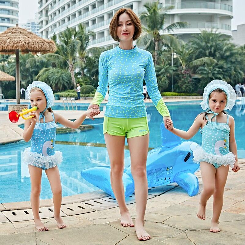 Girls' Swimsuit One Piece Swimwear Girls Dot Swimwear Sports Bodysuit Beachwear Children Swim Suits Bathing Suit Swimming Wear