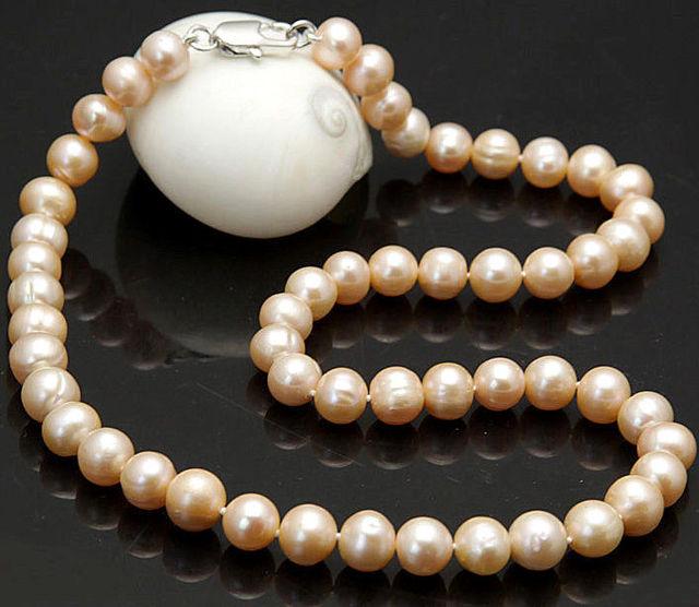 100% Venta completa 8-9 MM Real Natural Pink Perlas Cultivadas de Akoya collar 18