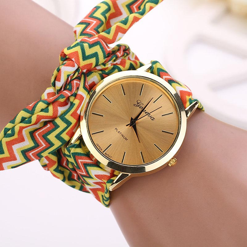 product strap ladies fashion belt chiffon sweet watch new cloth bracelet brand geneva floral girls watches