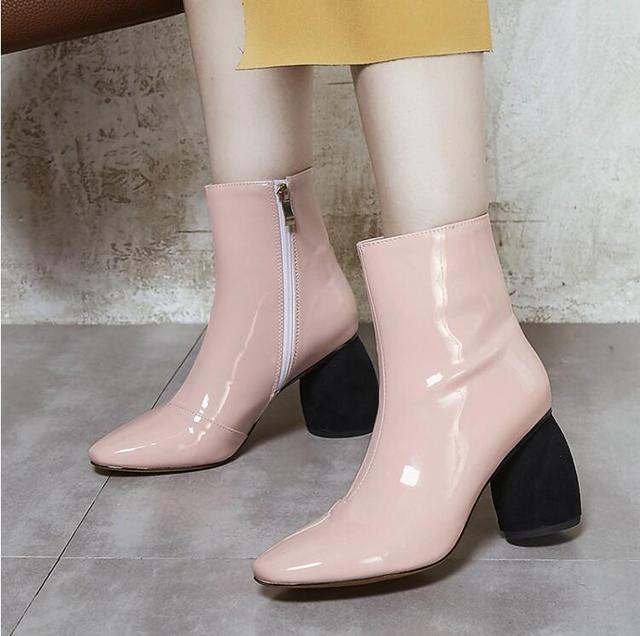 Stylesowner Pointed Toe Winter Ankle Boots Fashion Strange High Heel Solid Color Patent Leather Boots Shoes Women Plus Size 43