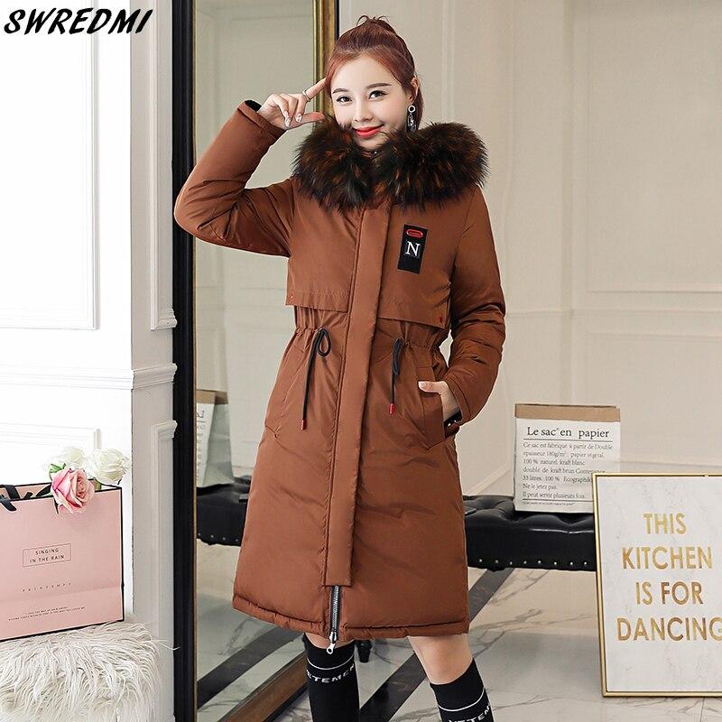 SWREDMI épais chaud femme veste 2019 mince cordon hiver femmes Parkas grande taille 3XL manteaux à capuche porter des deux côtés