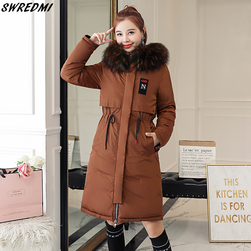 SWREDMI Thick Warm Female Jacket 2019 Slim Drawstring Winter Women's   Parkas   Plus Size 3XL Wadded Coats Hooded Wear On Both Sides