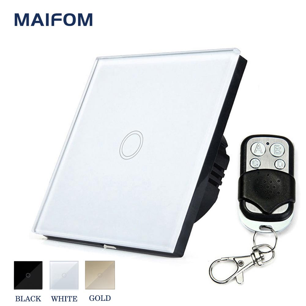 MAIFOM EU Standard Smart Touch Switch RF433 Remote Control Wall Switch 1 Gang 1 Way Wireless Light Switch for Home and Hotel smart home eu touch switch wireless remote control wall touch switch 3 gang 1 way white crystal glass panel waterproof power