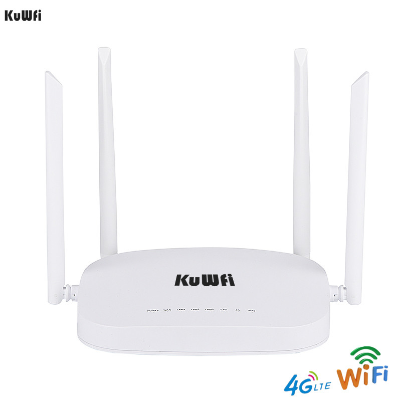 KuWfi 4G CPE LTE Router 3G 4G Wifi Router 300Mbps Wireless 4pcs External Antennas Support 4G