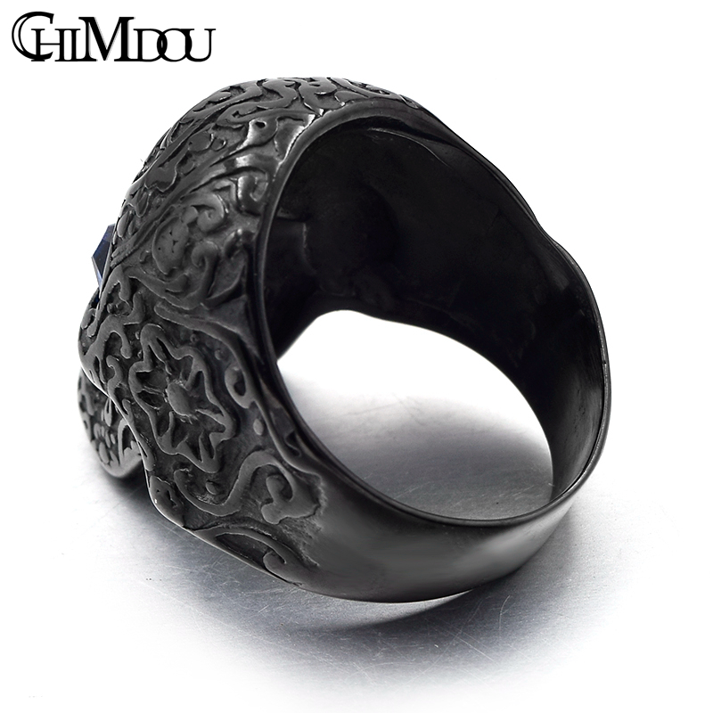 CHIMDOU flower tattoo blue eyes skull Men Ring Black stainless steel - Fashion Jewelry - Photo 2