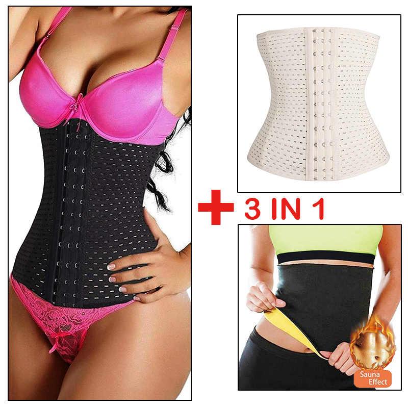 ad12d8948 3 in 1   3 pieces Plus Size Grid Women Waist Trainer Belt Hot Shapers Waist