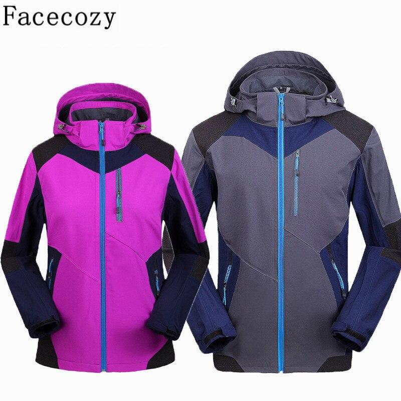 Facecozy Women Men Winter Outdoor Hooded Patchwork Softshell Hiking Ski Jacket Autumn Windproof Inner Fleece Camping