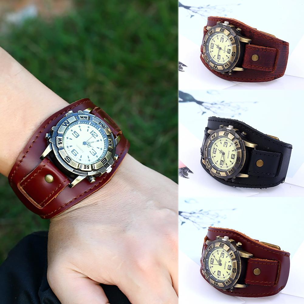 Vintage Women Men Punk Faux Leather Round Dial Quartz Bracelet Wrist Watches vintage faux leather layered rhinestone bracelet for women