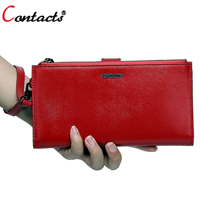 Contact's Zipper Women Wallet Female Genuine Leather Wallet Women Purses Red Leather Clutch Credit Card Holder Phone Coin Purse