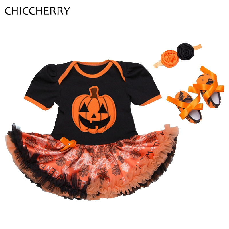 Pumpkin Girls Halloween Outfits Infant Party Dress Headband Crib Shoes Ropa De Bebe Newborn Clothing Baby Halloween Costume Gift