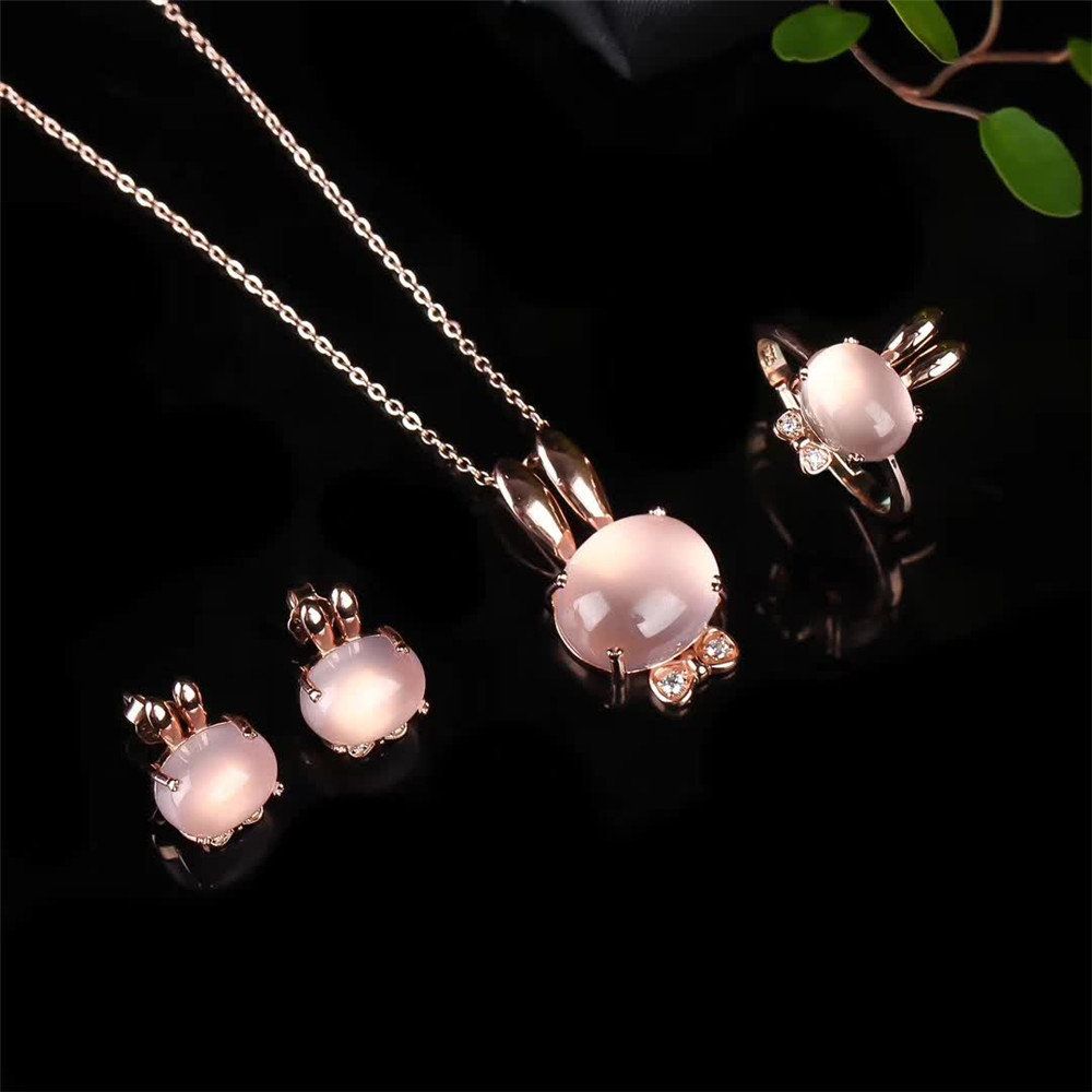 gemstone jewelry factory wholesale trendy 925 sterling silver natural pink crystal earring necklace pendant ring jewelry setgemstone jewelry factory wholesale trendy 925 sterling silver natural pink crystal earring necklace pendant ring jewelry set