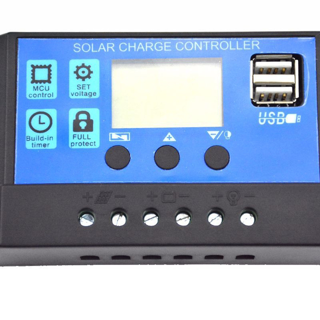30/20/10A 12/24V Auto Work Solar Charge Controller PWM with LCD Dual USB 5V Output Solar Cell Panel Charger Regulator Controller