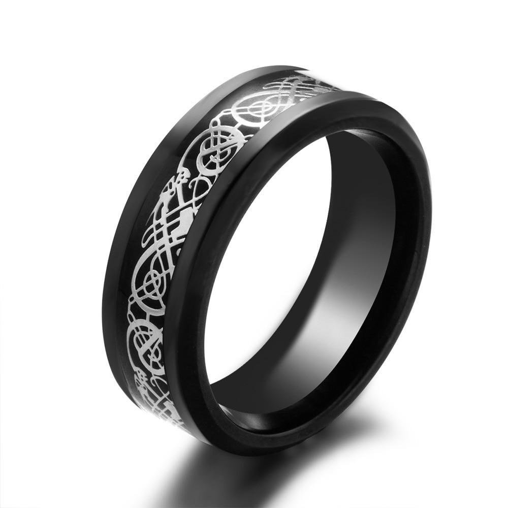 Stainless Steel Men Rings Carbon Fiber Dragon Engagement Ring Blue