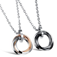 2015 New Three Circles Romantic Couple Necklace 316L Stainless Steel Titanium Steel Rose Gold Woman Man