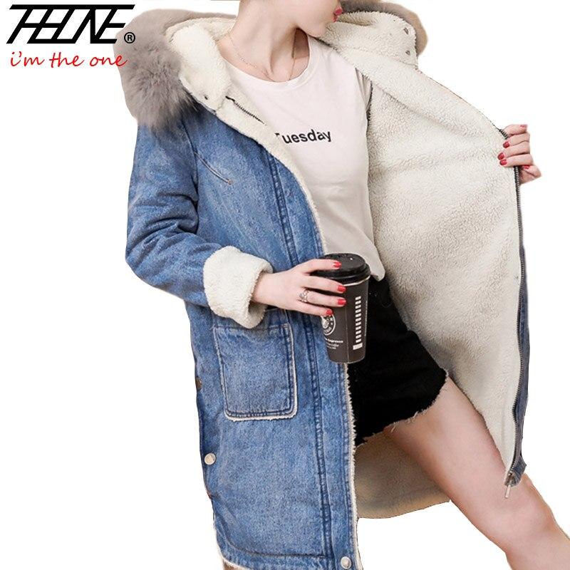 THHONE Denim Jacket Coat Parka Women Winter Jackets Natural Fur Collar Hoooded Fleece Warm Outwear Overcoat Snow Parka Female